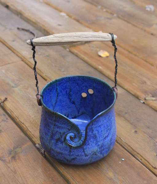 Yarn Bucket with Driftwood Handle