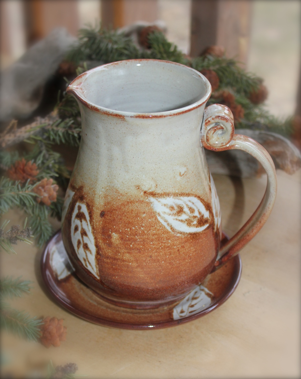 """Falling Leaves"" Pitcher ~ Saucer Set"